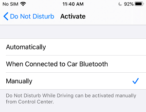 Manually Enable Do Not Disturb While Driving Mode on iPhone