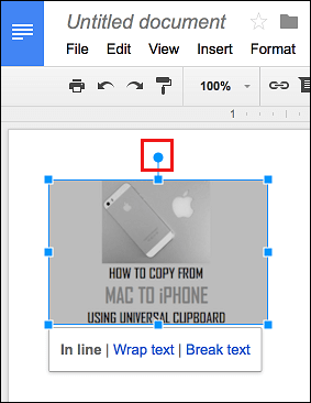 Blue Dot in Google Docs to Rotate Picture