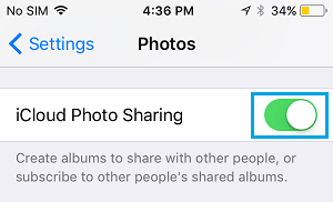 Enable iCloud Photo Sharing on iPhone