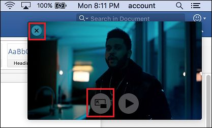 Exit Picture in Picture on Mac