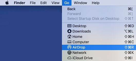 Go to AirDrop Option on Mac