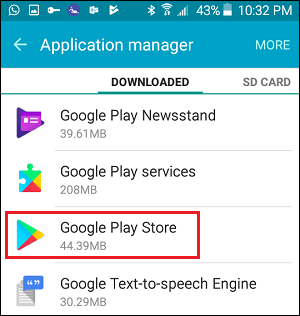 Google Play Store Tab in Settings on Android
