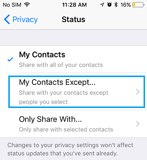 Share WhatsApp Status with My Contacts Except.. Option on iPhone