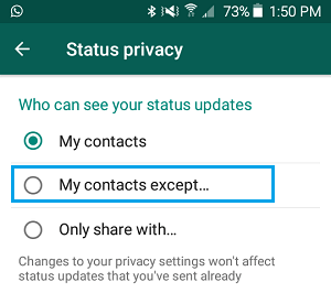 Share WhatsApp Status with My Contacts Except.. Option on Android Phone