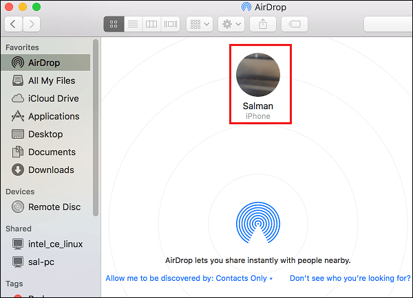 iPhone in List of AirDrop Devices on Mac