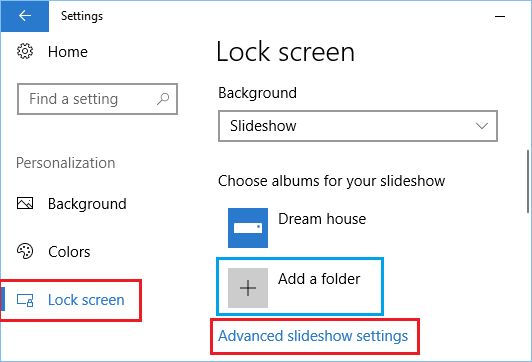 Set Slideshow as Lock Screen Background in Windows 10