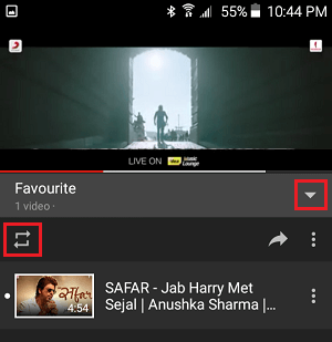 Loop Button in YouTube App