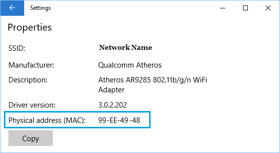 Physical MAC Address on Windows 10 Settings Screen