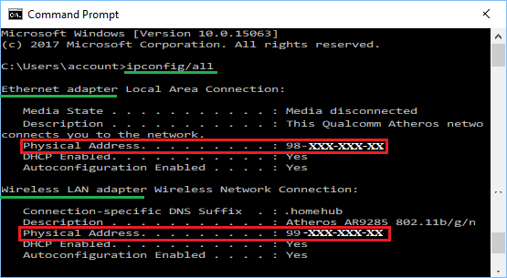 MAC Address of WiFi and Ethernet Networks in Windows 10 Command prompt Window