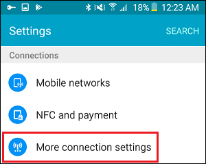 More Connection Settings Tab in Settings on Android Phone