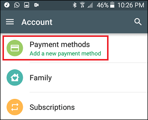 Payment Methods Tab in Google Play Store Settings