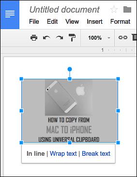 Quick Editing Menu in Google Docs