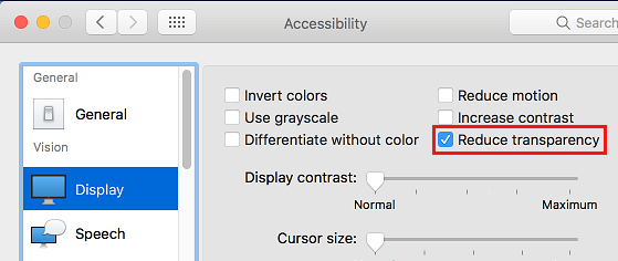 Display Tab and Reduce Transparency Option on Mac