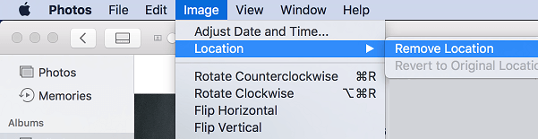 Remove Location Information Option on Mac