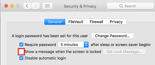 Remove Lock Screen Message on Mac