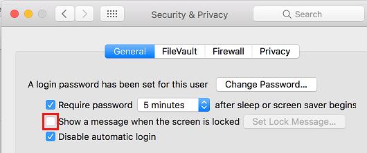Remove Lock Screen Message on Mac