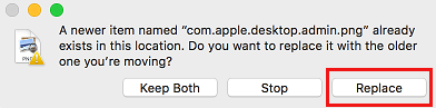 Replace Image Pop-up on Mac