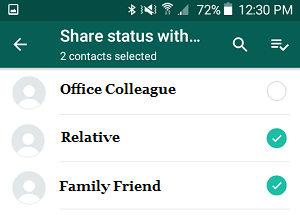 Share WhatsApp Status with Specific Contacts on Android Phone