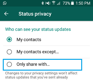 Share WhatsApp Status Only With... Option on Android Phone