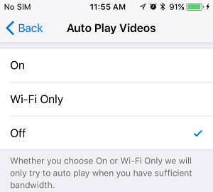 Turn Off Autoplaying Videos on iPhone