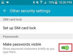 Turn On Make Passwords Visible on Android Phone
