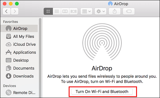 Turn on WiFi and Bluetooth Button on Mac