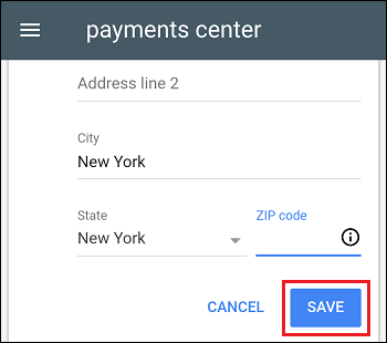 Edit Address and Save Changes in Google Payments Center