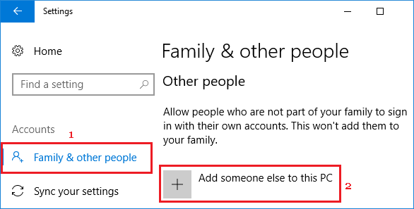 Add Someone Else to PC Option in Windows 10