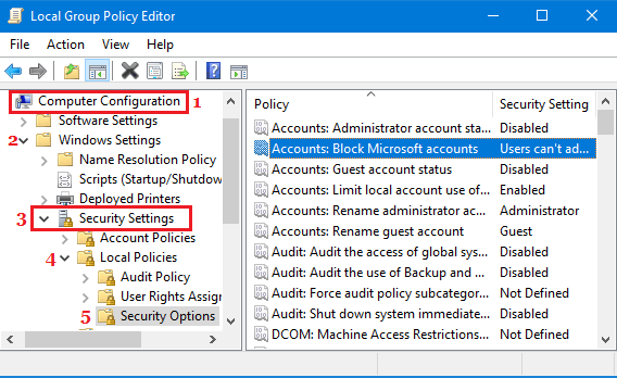 Block Microsoft Accounts Option in Local Group Policy Editor