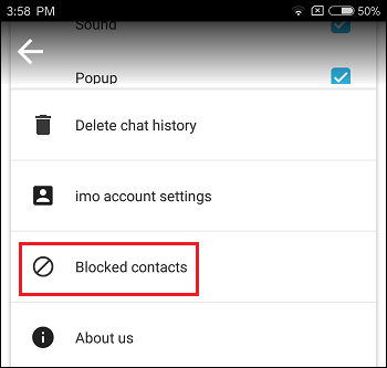 Blocked Contacts Tab in imo on Android Phone