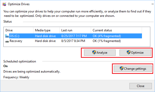 Optimize Drives Screen in Windows 10