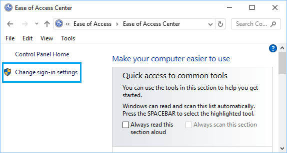 Change Sign-in Settings Option on Control Panel in Windows 10