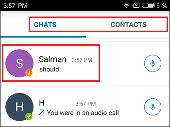Chats and Contacts Tab in imo on Android Phone