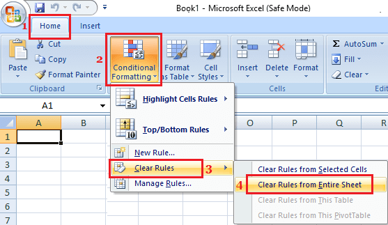 Clear Conditional Formatting From Microsoft Excel Worksheet