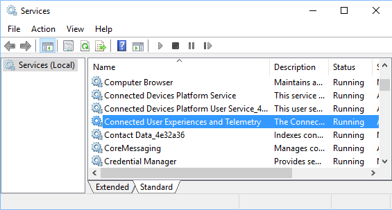 Connected User Experiences and Telemetry Service in Windows 10