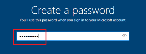 Create User Account Password Screen During Windows 10 Setup
