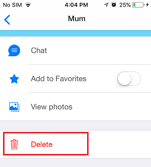 Delete Contact Option in imo on iPhone