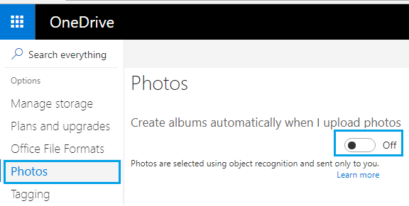 Disable the option to Create Photo Albums Automatically