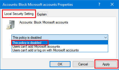Disable Block Microsoft Accounts Policy in Windows 10
