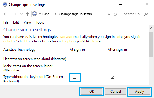 Change Sign-in Settings Screen in Windows 10