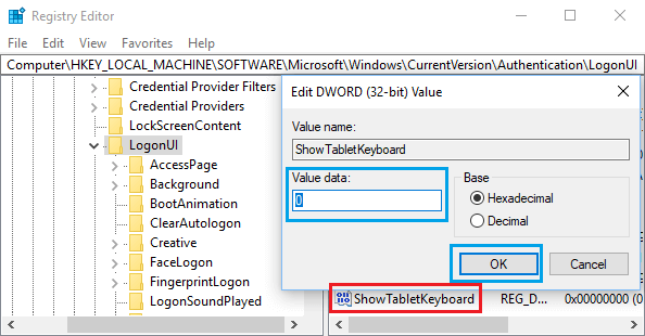 Disable On-Screen Keyboard In Windows 10 Using Registry Editor