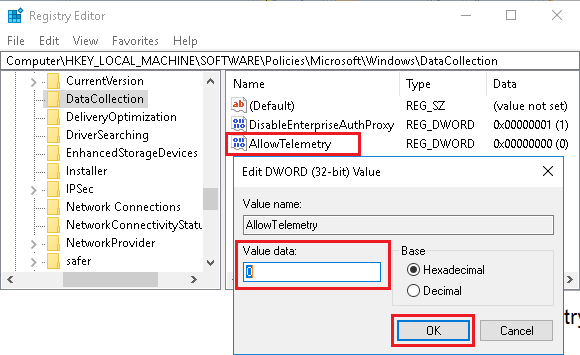 Disable Telemetry and Data Collection Using Registry Editor in Windows 10