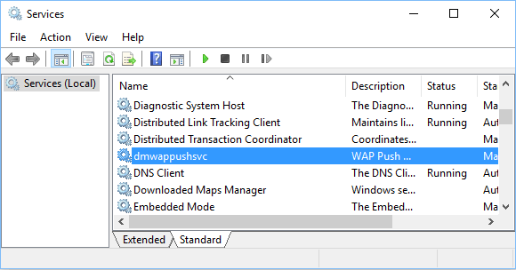 Disable dmwappushsvc service in Windows 10