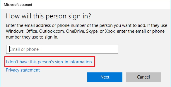 New User Setup Screen in Windows 10