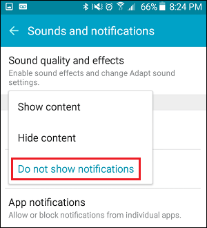 Do Not Show Notifications on Lock Screen on Android Phone
