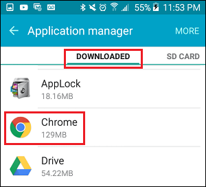Downloaded Tab in Applications Settings Screen on Android Phone