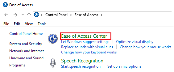 Ease of Access Center Option on Control Panel Screen in Windows 10