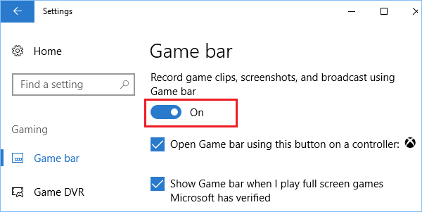 Enable Game Bar and Option to Record Screenshots and Game Clips in Windows 10
