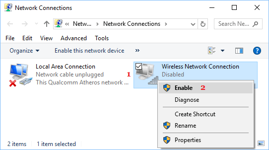 Enable Wireless Network Connection in Windows 10