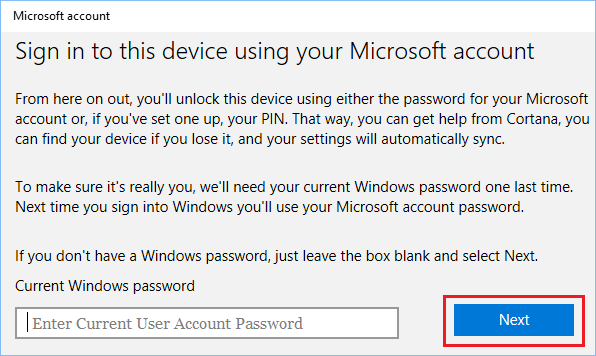 Enter Current User Account Password In Windows 10